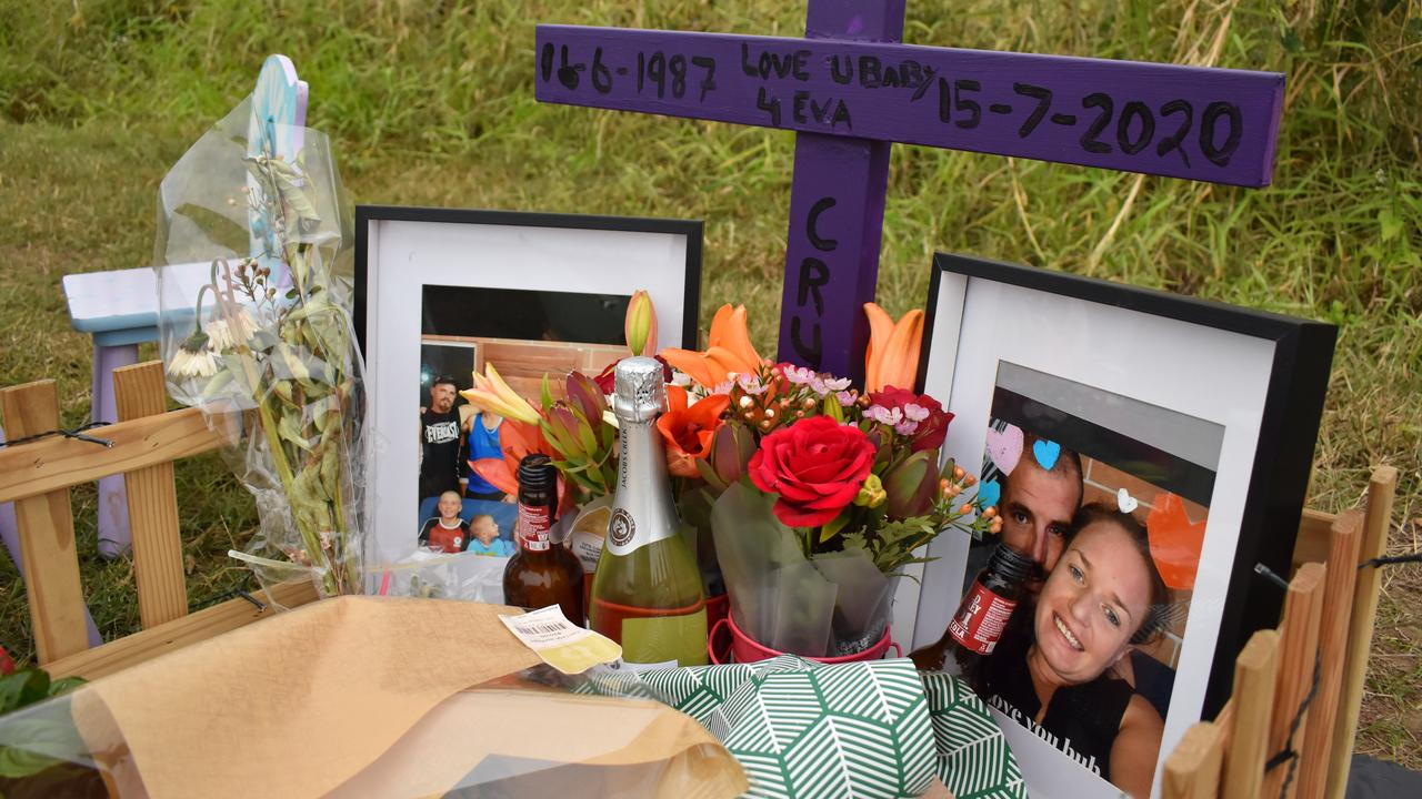 The young family of Crystal Marr set up a shrine on Eimeo Rd, where the 33-year-old mother of five was struck by a car and died on Wednesday July 15.
