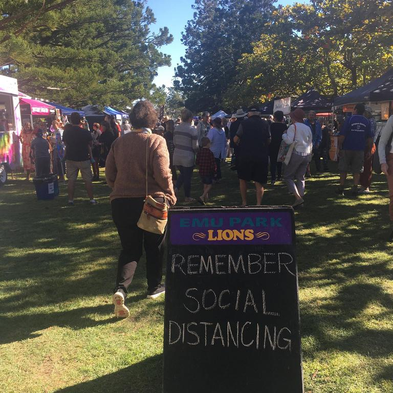 SOCIAL DISTANCING: The number of visitors in proximity was a cause for concern at Sunday's Emu Park Lions Markets.