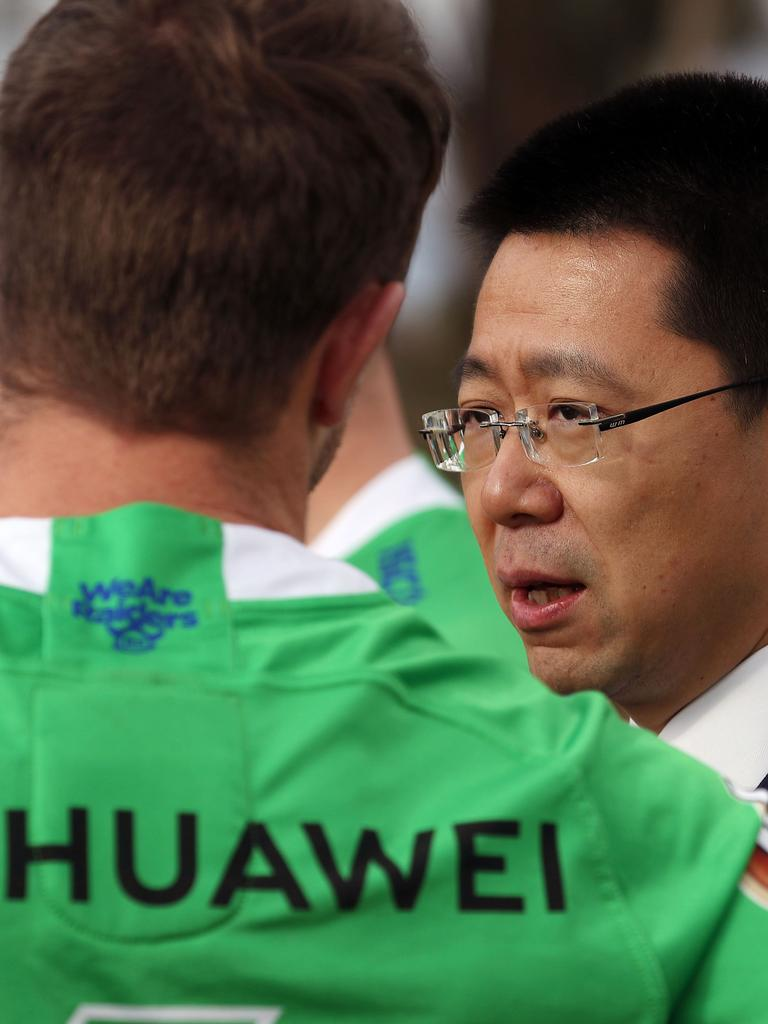 Huawei CEO Hudson Liu with the Canberra Raiders. Picture Gary Ramage