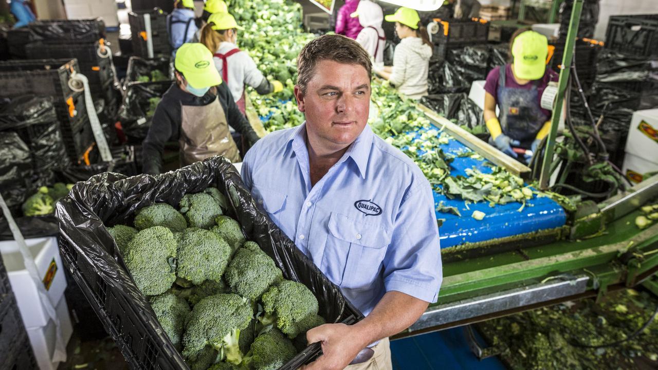 Broccoli farmer Troy Qualischefski at his farm in Gatton.