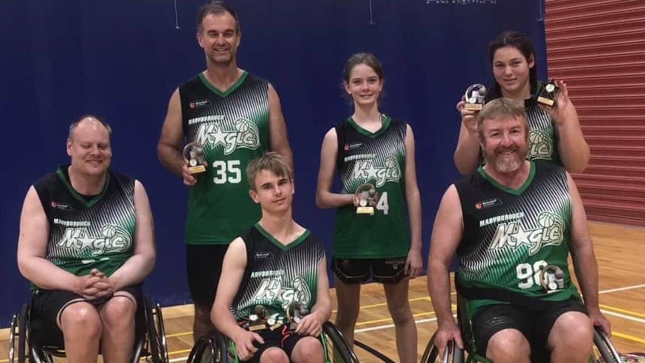David Warry, Henry Rider, Michael Oxley, Quentin Rider, Alyssa King, and Emerald Wilmshurst from Fraser Coasters Wheelchair Basketball.