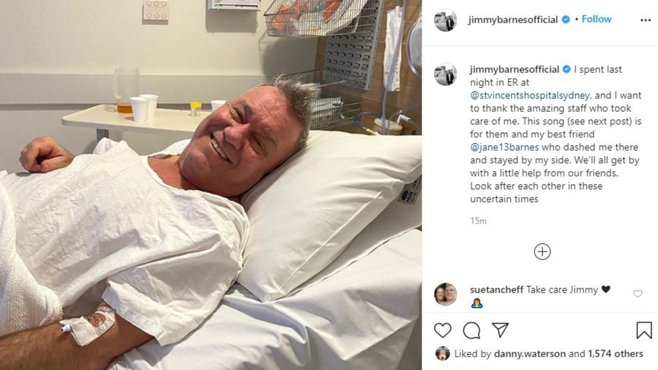 Jimmy Barnes spent Monday night in the emergency department at St Vincent's Hospital. Picture: Instagram