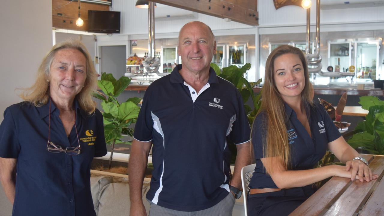 Whitsunday Sailing Club secretary Leonie Matthews, sailing manager Ross Chisholm and event manager Caitlin McLuskey at the newly-reopened Whitsunday Sailing Club restaurant, 20 Degrees South. Picture: Laura Thomas