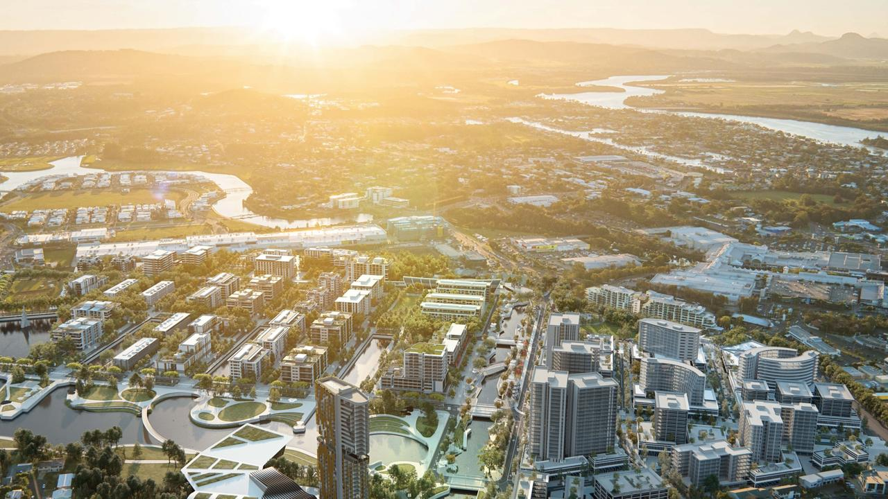 An artist's impression shows a vision for Maroochydore's new city centre. A new report says the project is already helping drive property growth in nearby Sunshine Coast suburbs.