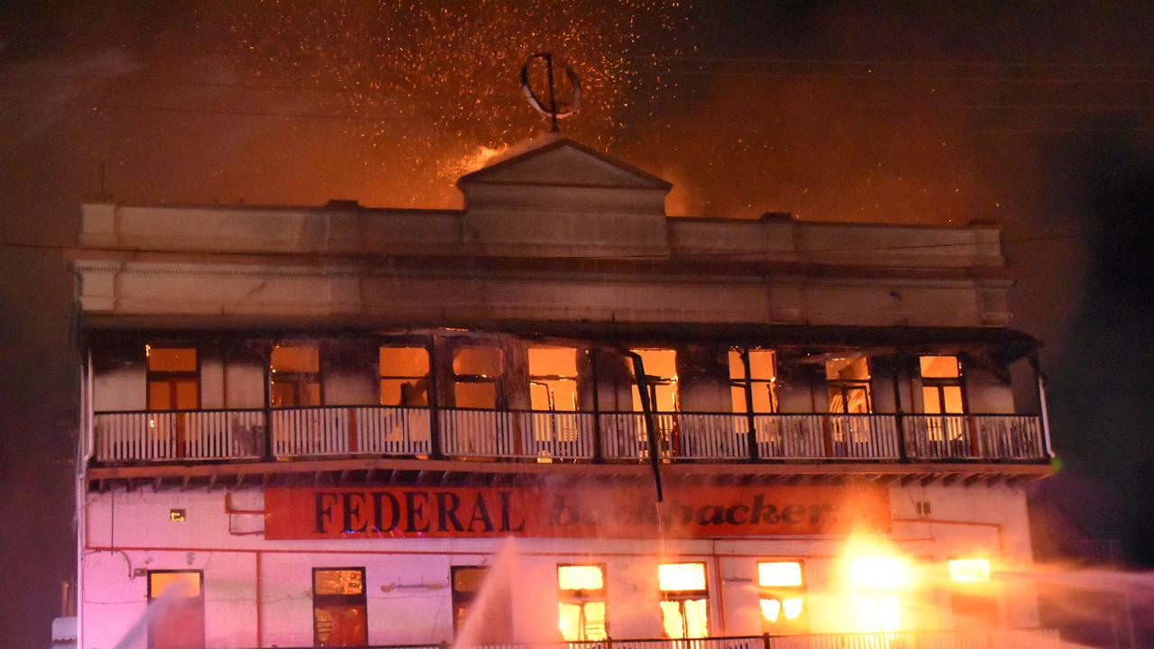 Crews on scene at the blaze. Picture: Shane Jones