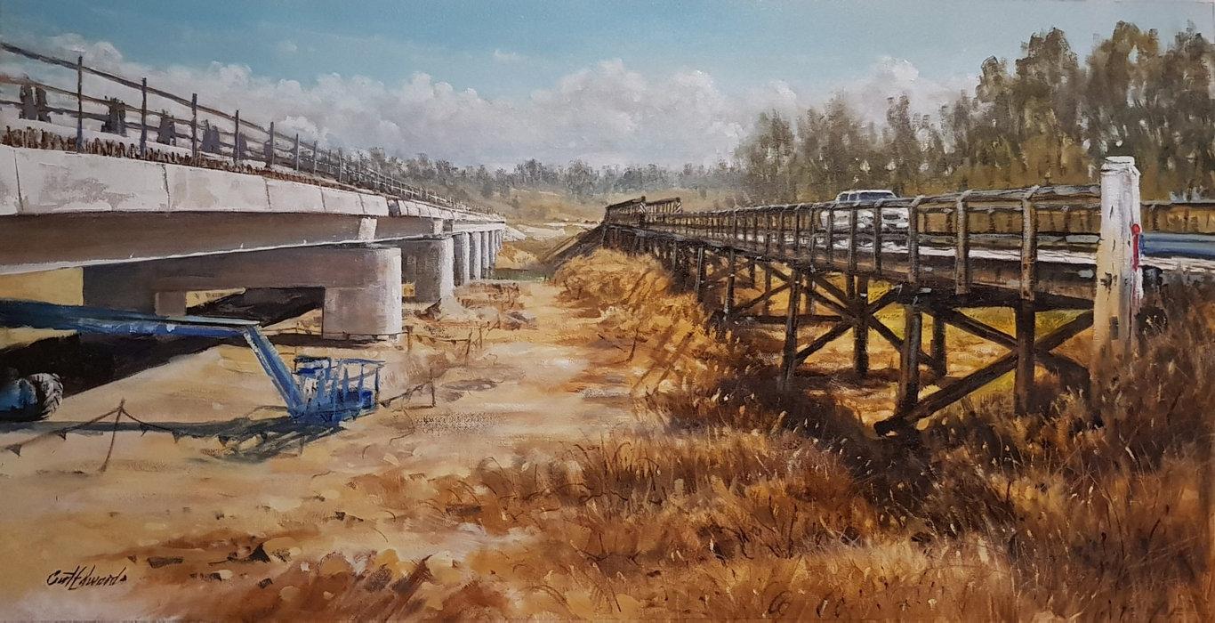 Curt Edwards, Tabulam Bridges - 1899/2020, 2020, oil on canvas. Courtesy of the artist.