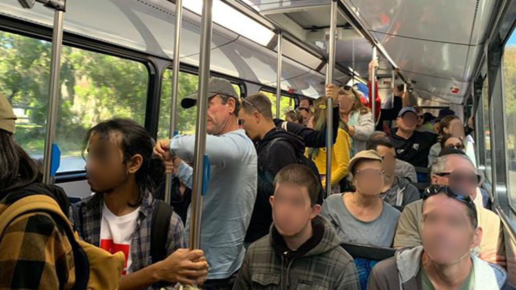 Concerned commuters say they were 'literally packed' into a bus on Stradbroke Island last weekend, July 19. Picture: supplied