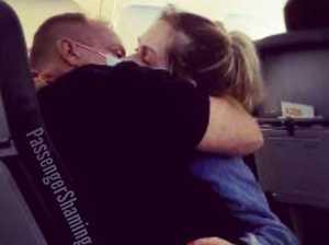 Masked couple shocks with plane act