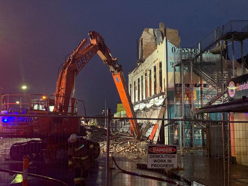 The top floor is dismantled.