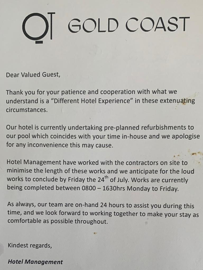 An apology letter from the QT hotel for the ongoing construction works.