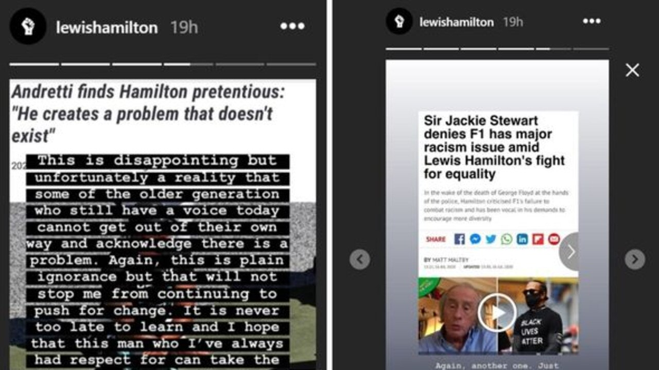 Lewis Hamilton's recent Instagram posts.