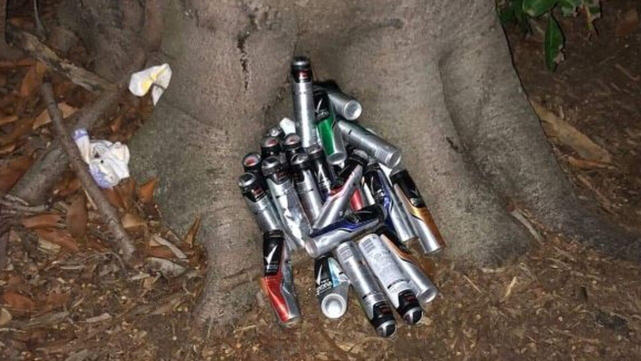Aerosol cans dumped by a tree in the Broadwater Parklands at Southport.