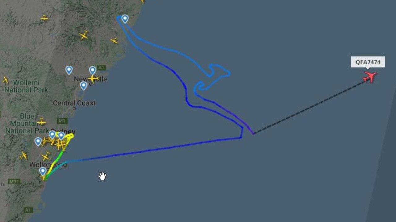 Qantas flight A7474 creates a flying kangaroo in its flight path as it leaves Sydney on its final flight to retirement. Picture: Flightradar24.com