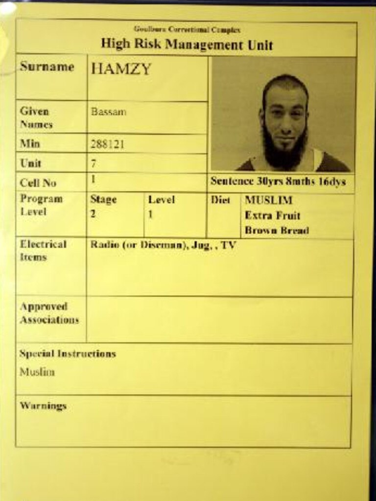 Bassam Hamzy's cell card when he was first put into Goulburn's Supermax prison.