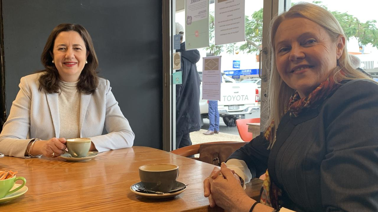 Queensland Premier Annastacia Palaszczuk enjoys a morning meeting over coffee with Member for Noosa Sandy Bolton. Photo: Matt Collins