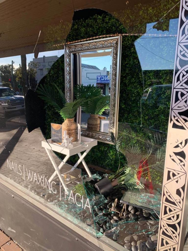The shop front window that was smashed at Luxe Serenity Spar in Nanango. (Picture: Contributed)