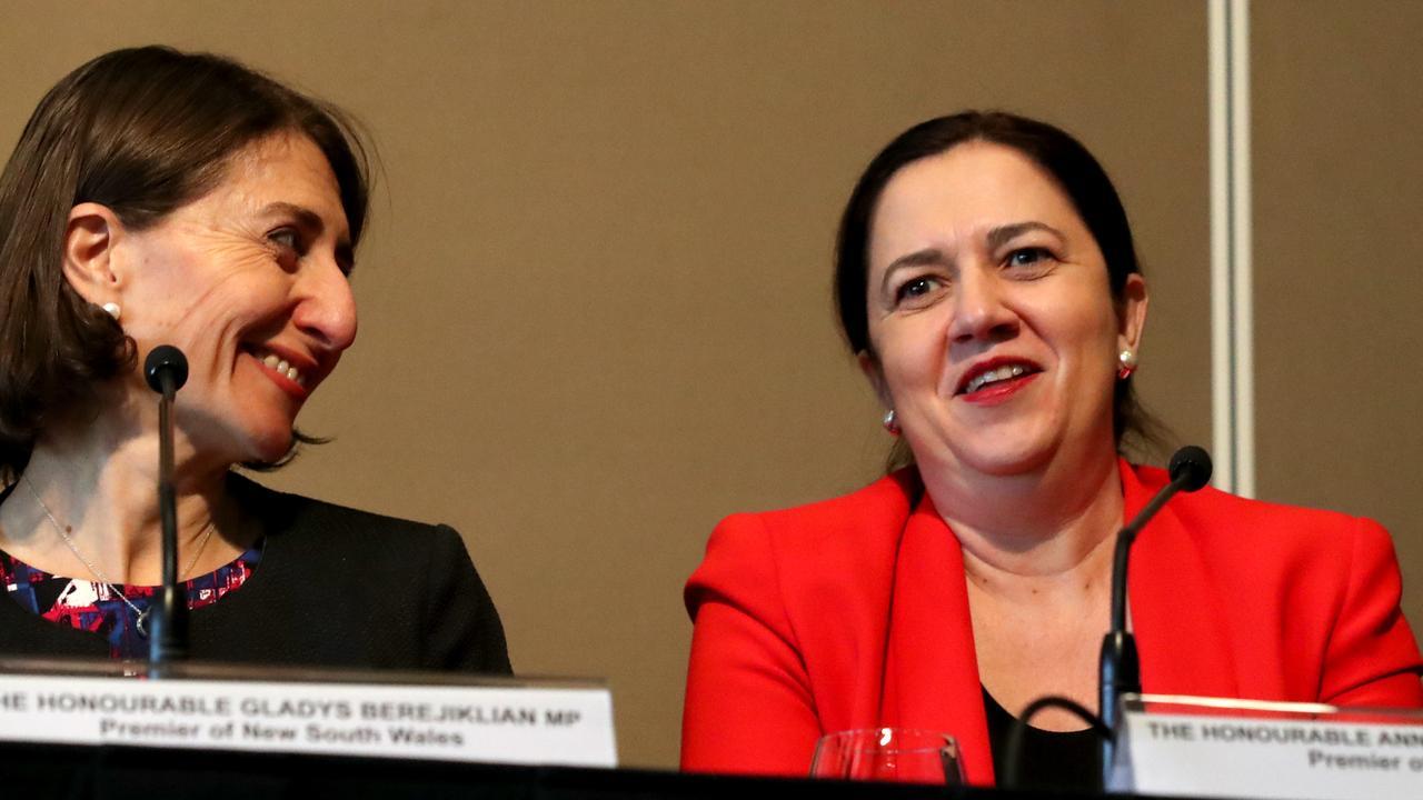 Premier of NSW Gladys Berejiklian and Premier of Queensland Annastacia Palaszczuk. Picture: AAP.
