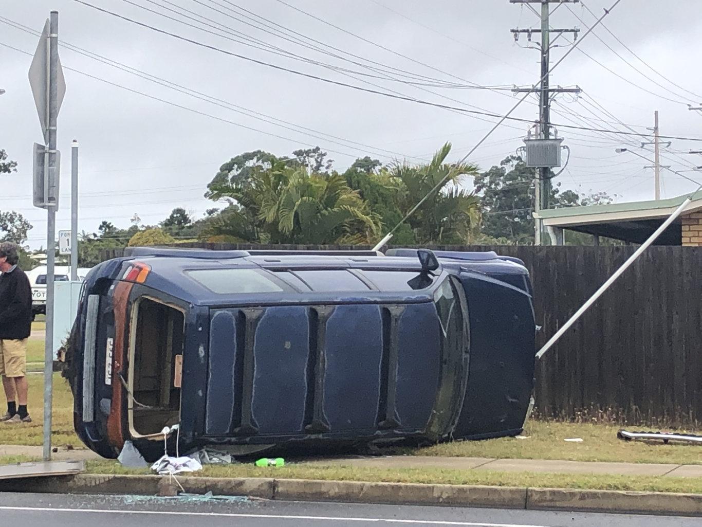 Car crash at the corner of Main St and Urraween Rd
