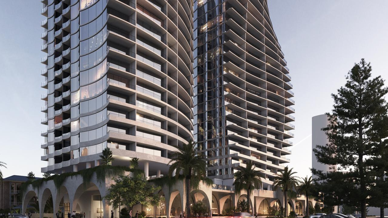 Artist impressions of a five-star hotel proposed for a Burleigh Heads site by developer Ross Nielson.