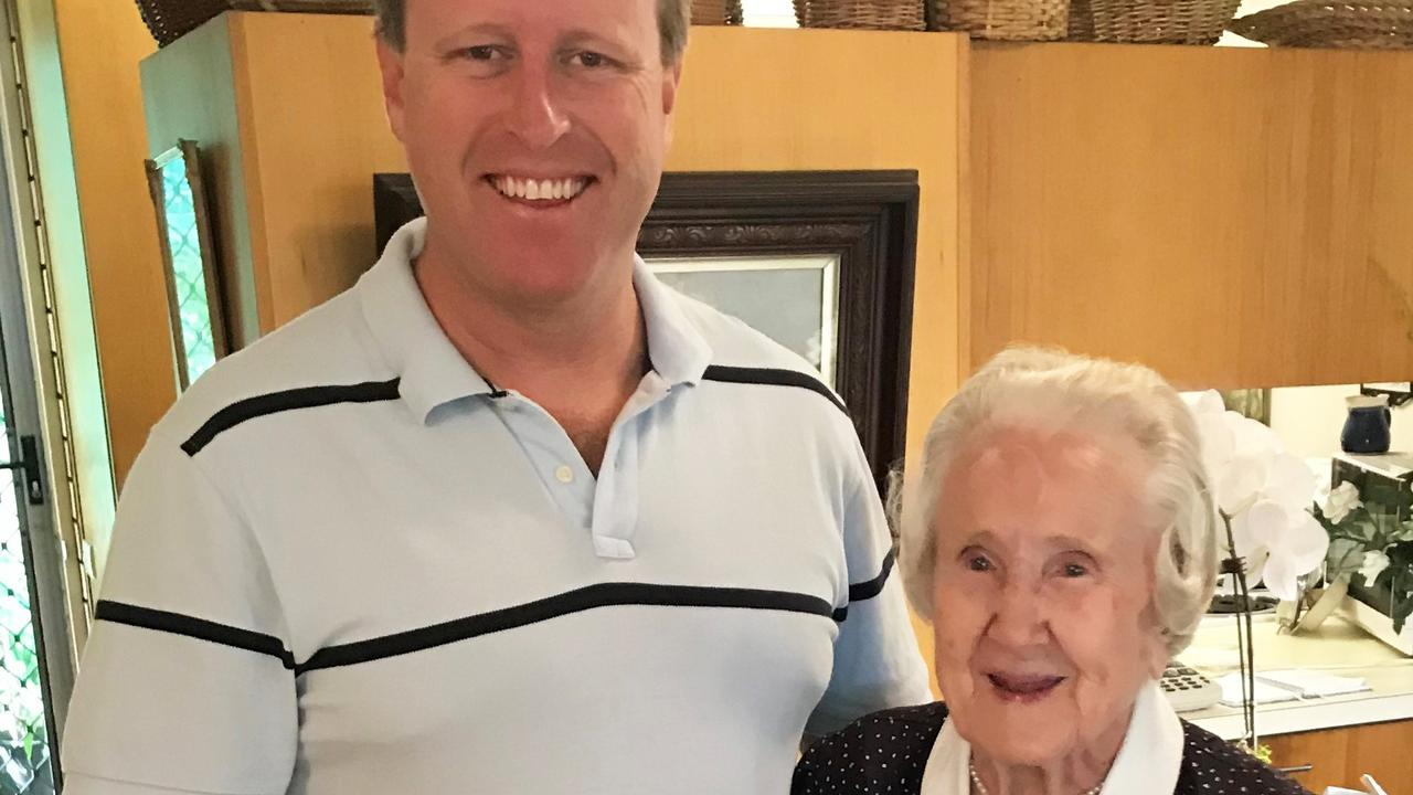Mildred Phipps on her 105th birthday in February with her grandson Tom Phipps and great-grandson Sam Phipps.