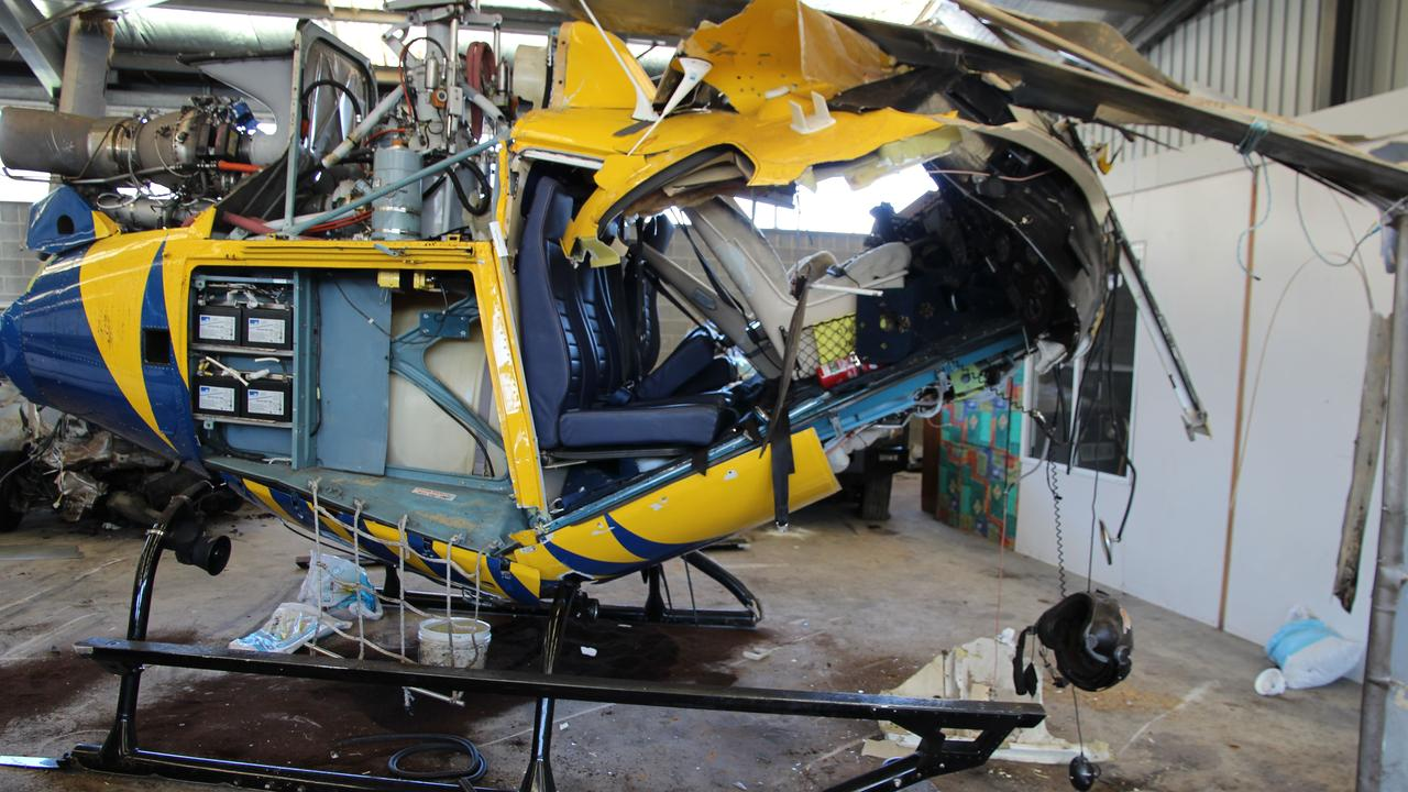 The wreck of the Squirrel helicopter from the crash at Hobart Airport in November, 2017, that claimed the life of pilot Roger Corbin. Picture: SUPPLIED