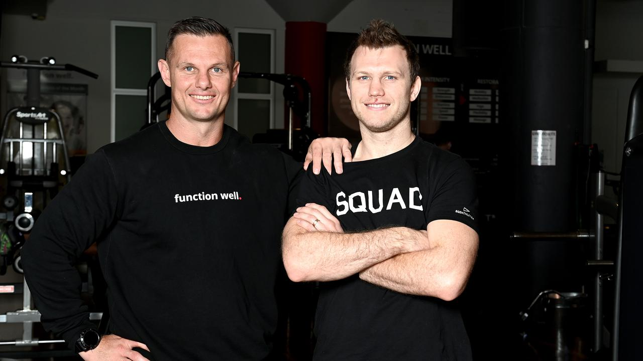 Boxer Jeff Horn with his strength and conditioning coach, former NRL player Chris Muckert in Brisbane last week. Picture: Bradley Kanaris/Getty Images