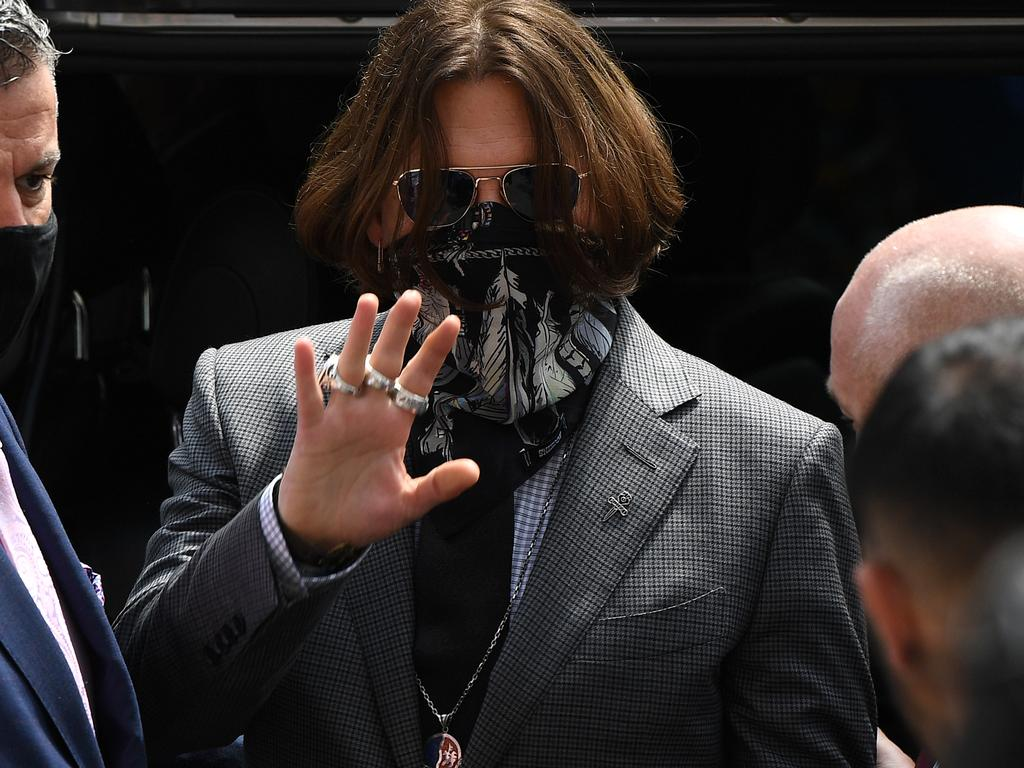 Johnny Depp arrives at Royal Courts of Justice, Strand in London, England. Picture: Getty Images