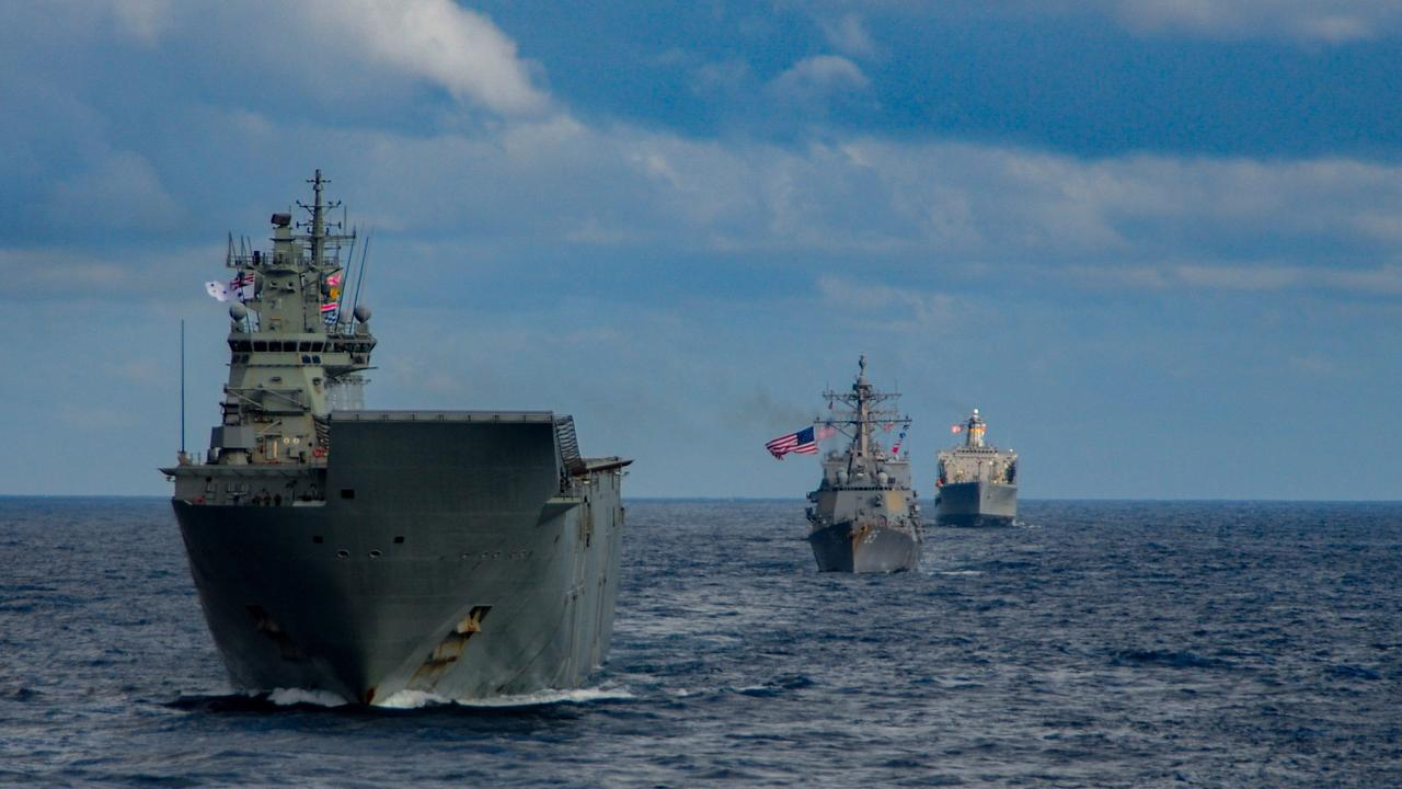 HMAS Canberra, front, during operation Talisman Sabre.