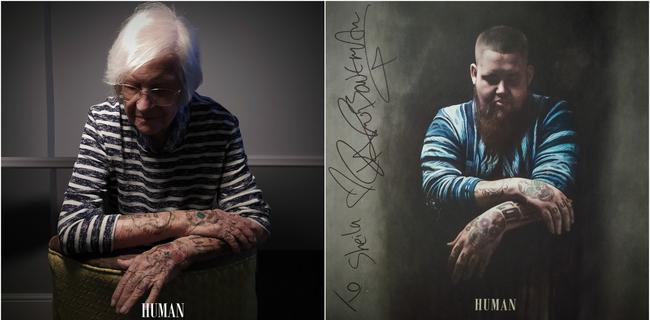 Sheila inked up for her photo shoot to recreate the album cover for Human by Rag '' Bone Man. Picture: @robertspeker / Sydmar Lodge