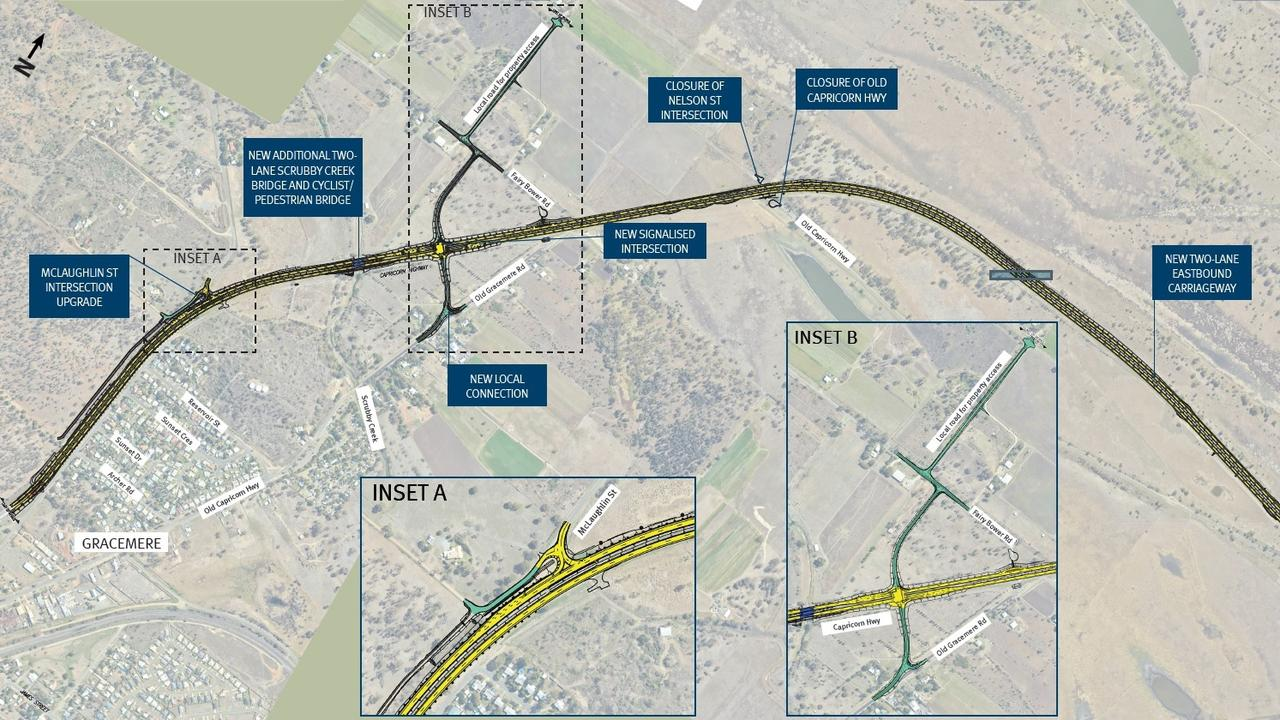 CONCEPT DESIGN: The Department of Transport and Main Roads has revealed a detailed map for the Capricorn Highway - Rockhampton to Gracemere Duplication.