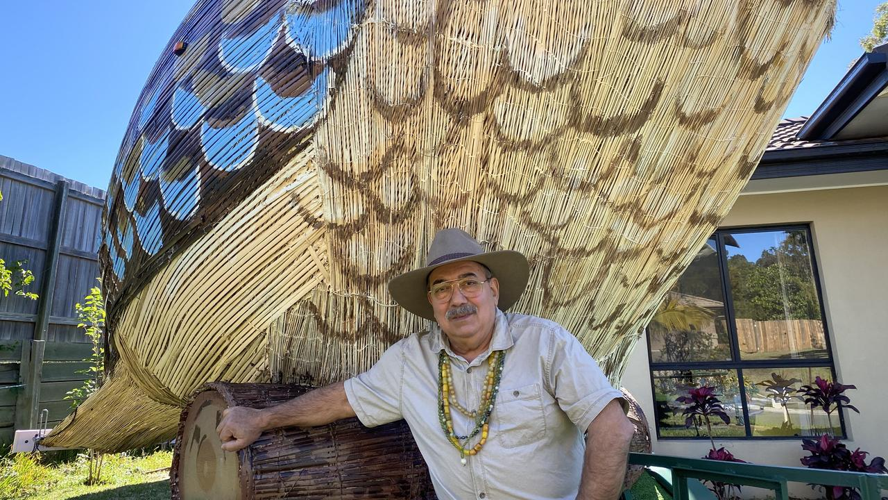 Farvardin Daliri is taking his creation, the Giant Kookaburra, on a tour of Queensland and will spend three days on the Fraser Coast.