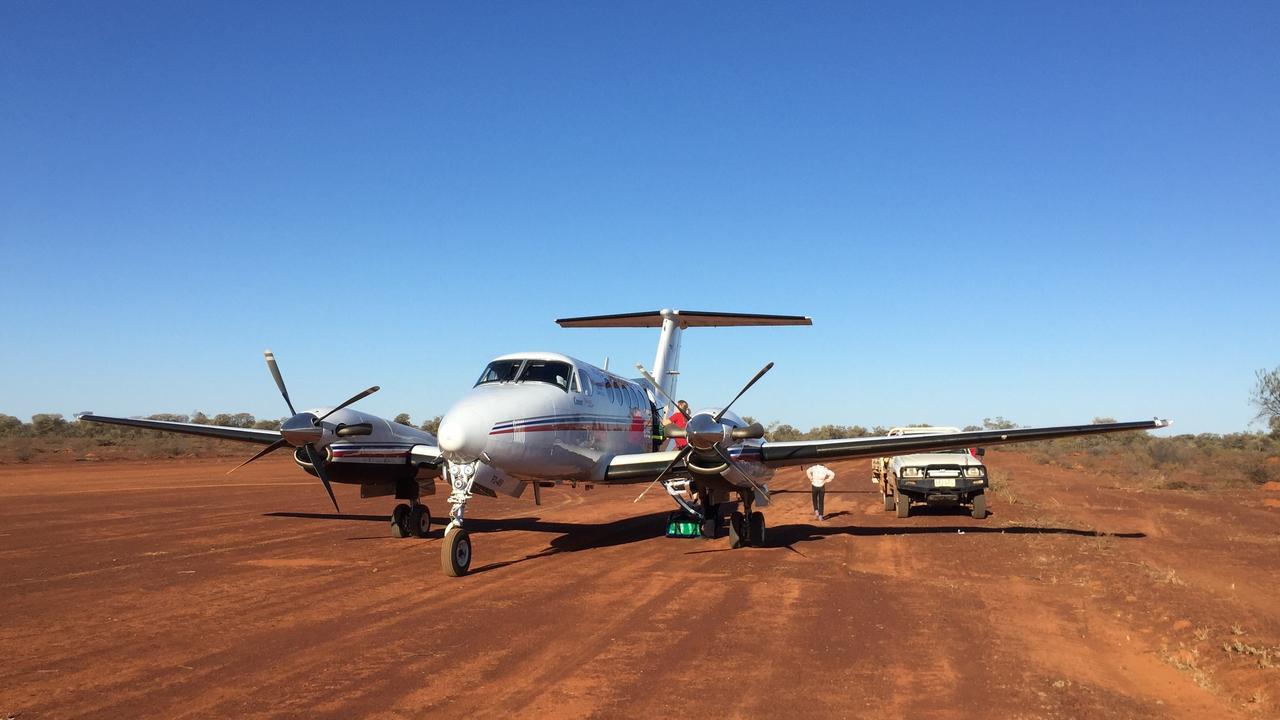 Dirt airstrip landing.