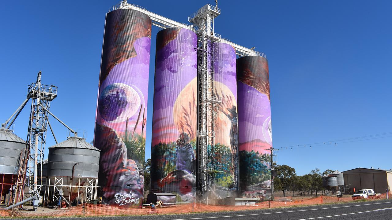 SAFETY ALONG HIGHWAY: The completed silo art murals at Three Moon near Monto are a point of concern for distracted drivers. Picture: Sam Turner
