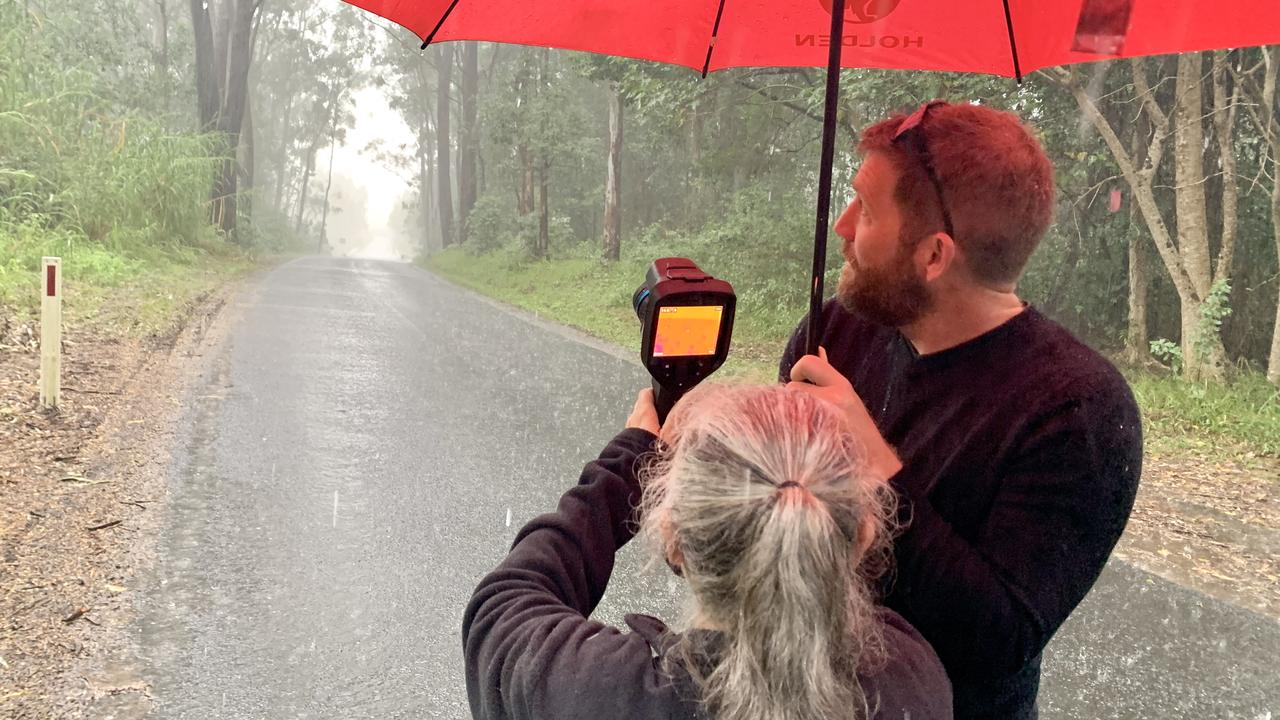 Wardell Koala rescuer Maria Matthes showing the new thermal imaging camera to videographer Saul Godowin.