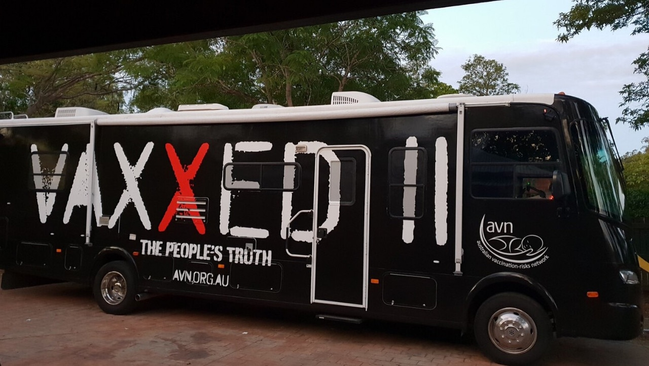 The vaxxed bus asked to leave the holiday park. Picture: Supplied, Facebook.
