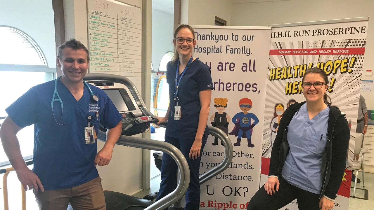 Dr Cameron Ventura, Dr Tegan Helmore and Dr Amanda Raty from Proserpine Hospital will take part in a 24hr treadmill challenge.