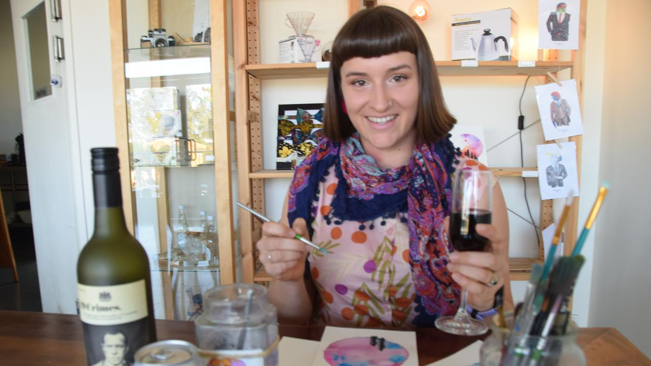 Gladstone artist Chanise Grealy has been hosting Brushes and Brews – a painting class complimented by a glass of wine.