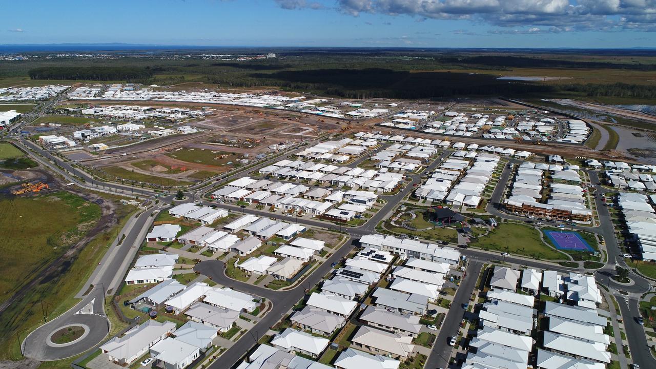 Aerial photos of the Aura housing development in the Caloundra West area of the Sunshine Coast.