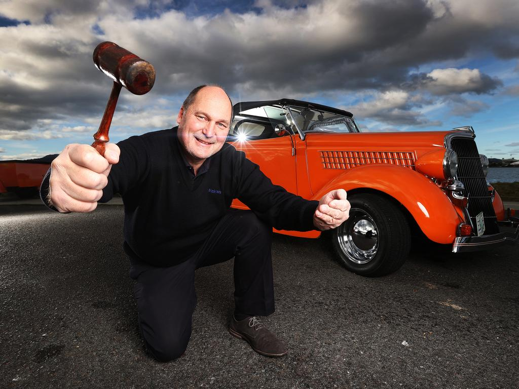 Sales executive for Pickles, Roger Hurd, with the 1935 Ford Hot Rod that will be auctioned off. Picture: ZAK SIMMONDS