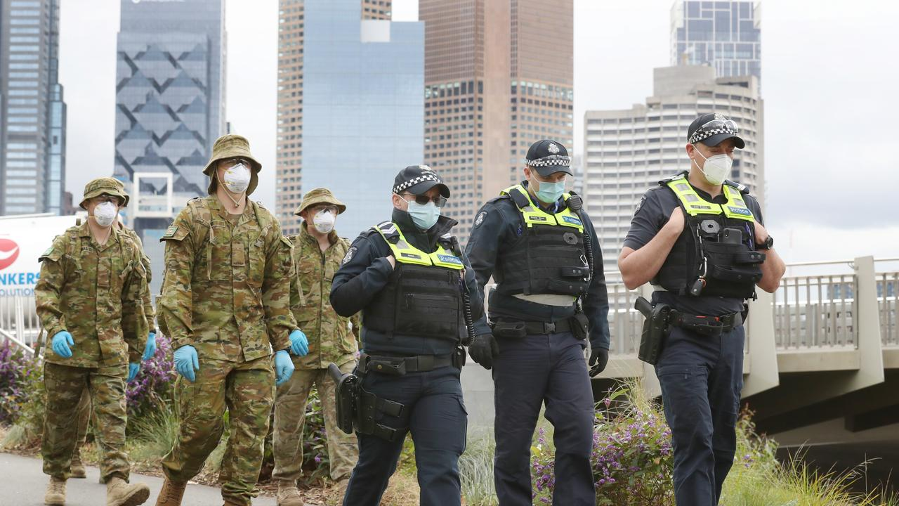 ADF and police patrol along the Yarra to ensure the mandatory mask rule is being followed.: Picture: David Crosling