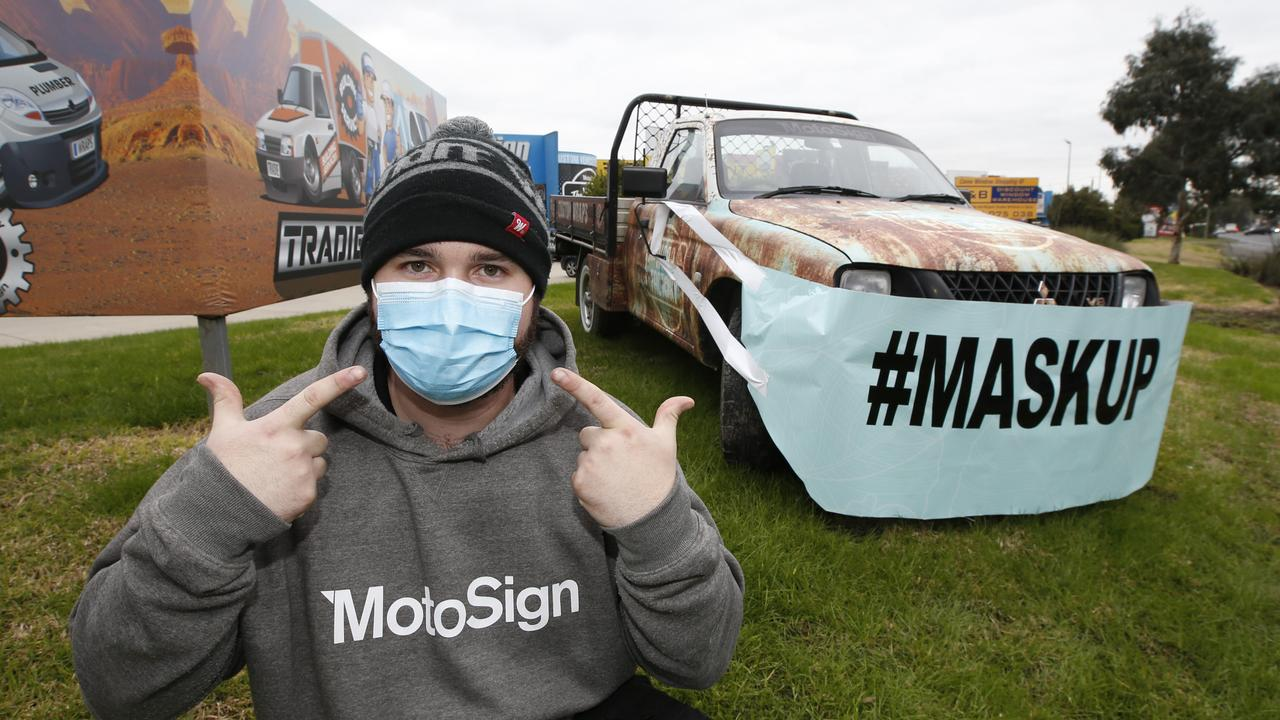 Matt Leggier, had the idea to wrap a ute with a vinyl mask to promote the wearing of face masks outside the Kilsyth shop on Canterbury Road. Picture: David Caird