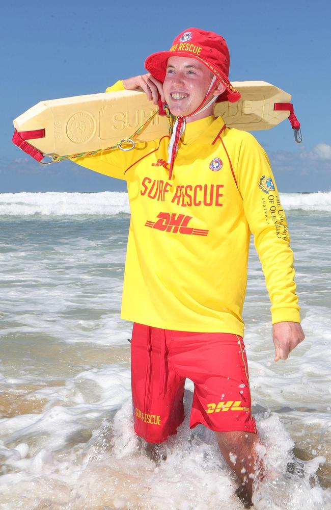 Hero nipper Troy Ottaway, 14, who was seriously injured in an IRB accident at Surfers Paradise. Picture Glenn Hampson