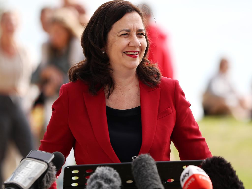 Premier Annastacia Palaszczuk at a recent media conference. Picture: Nigel Hallett