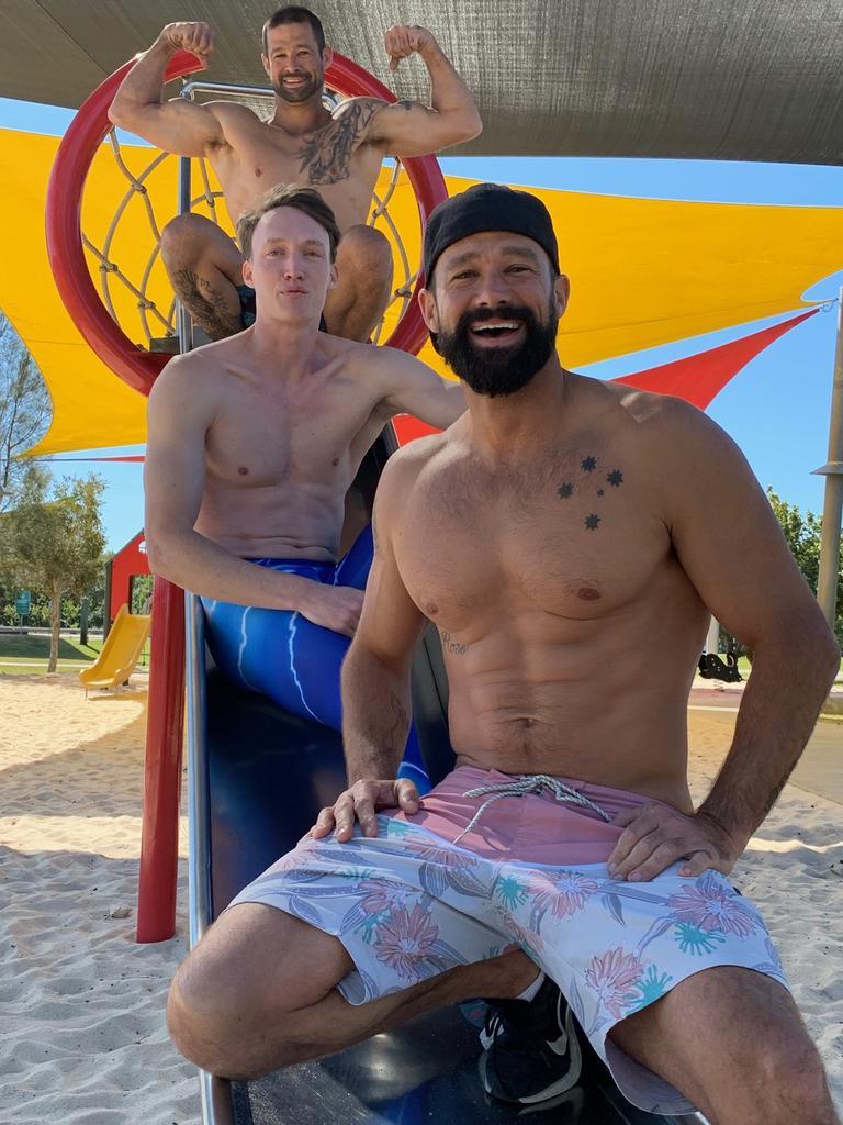 Ballet dancer Rainer Schue, pictured with fellow Coast-based Ninja Warrior contestants Matt and Luke Filippi, is ready for season four of Australian Ninja Warrior.
