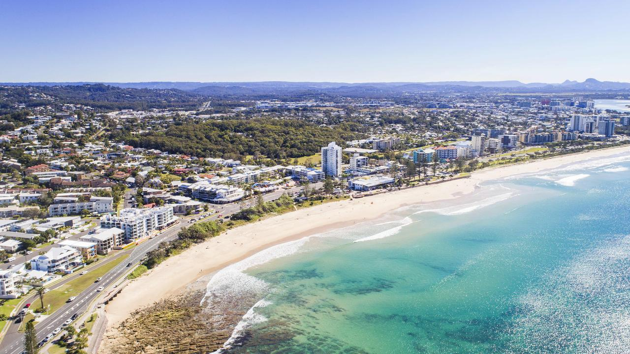 Aerial view over Alexandra Headland and Maroochydore. Picture: Lachie Millard