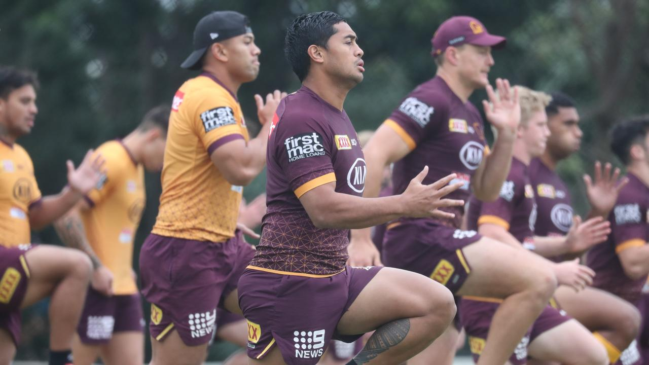 Anthony Milford at Broncos training at Red Hill . Picture: Annette Dew.