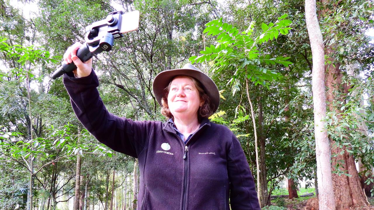 Vision Walks Eco Tours owner and operator Wendy Bithell streaming one of her live tours online. Photo: (Vision Walks)