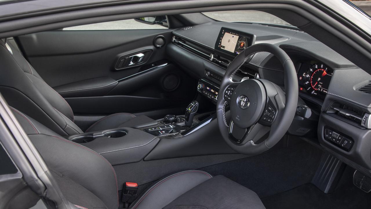 Inside the Toyota GR Supra GTS.