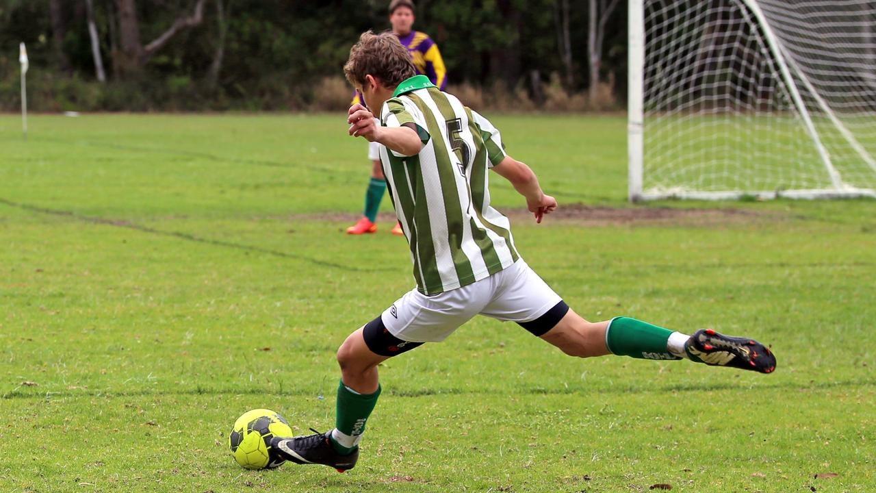 A big kick from Brody Olabarriaga who scored a goal at the North Coast Football zone championships at Toormina Ovals. The ovals will receive a cash injection for works on club amenities. Photo Gemima Harvey/ Coffs Coast Advocate