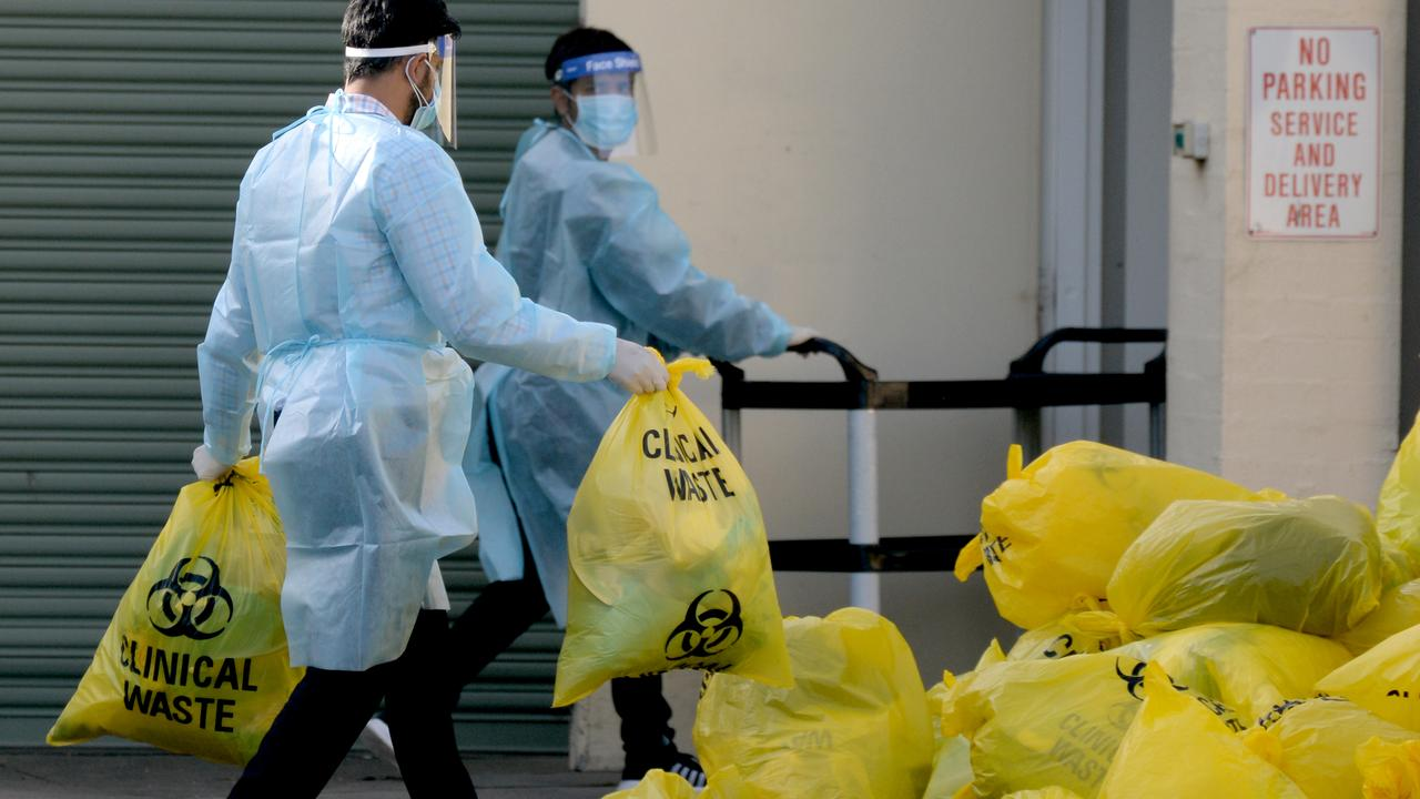 Biological waste is disposed of at St Basil's Aged Care at Fawkner. Picture: Andrew Henshaw